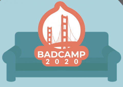 BADCamp.org logo on coral background on teal couch
