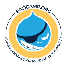 BADCamp.org logo on yellow background with Drupal drop